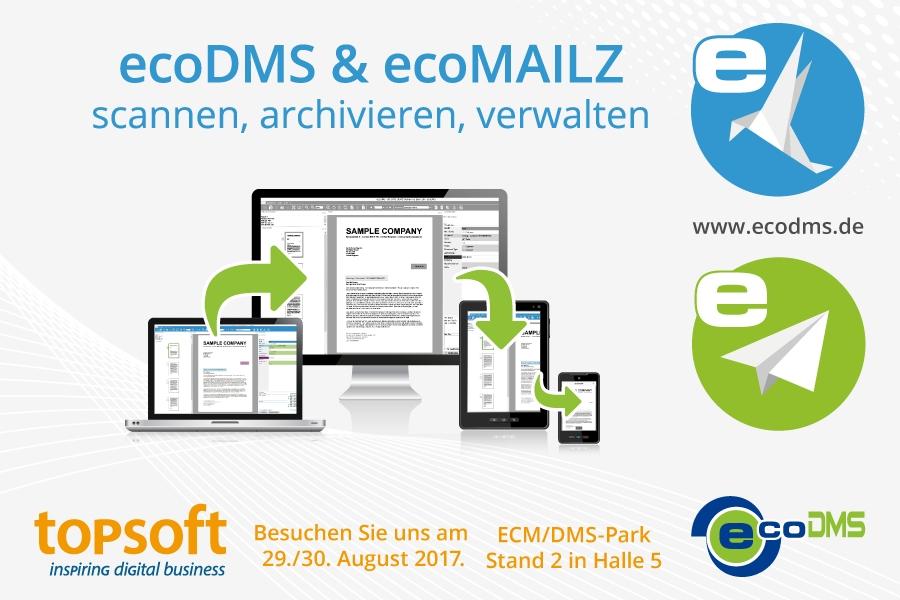 ecoDMS präsentiert Archivsysteme ecoDMS und ecoMAILZ auf der topsoft'17 in Zürich