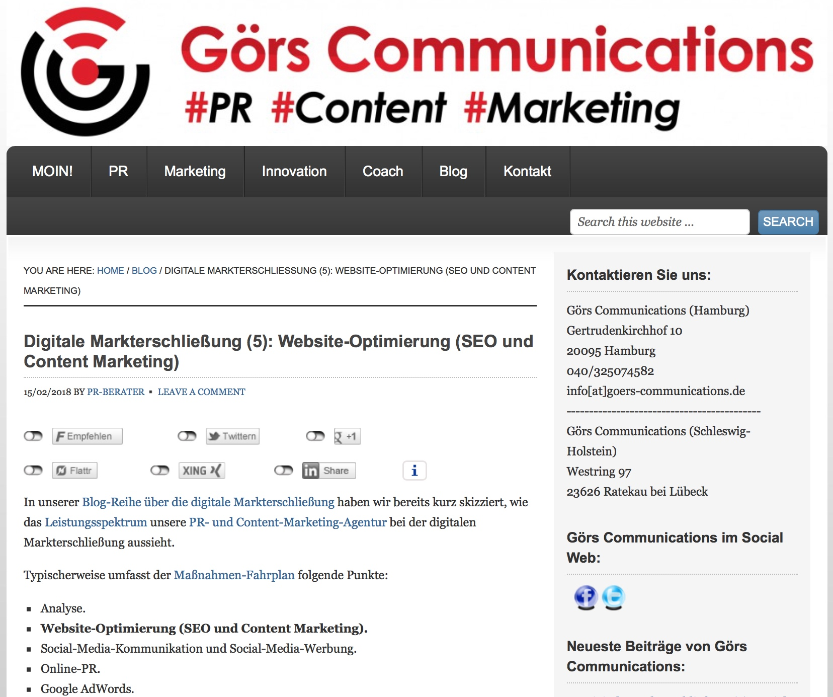 Blog Serie Digitale Markterschließung (5): Website Optimierung (SEO und Content Marketing)
