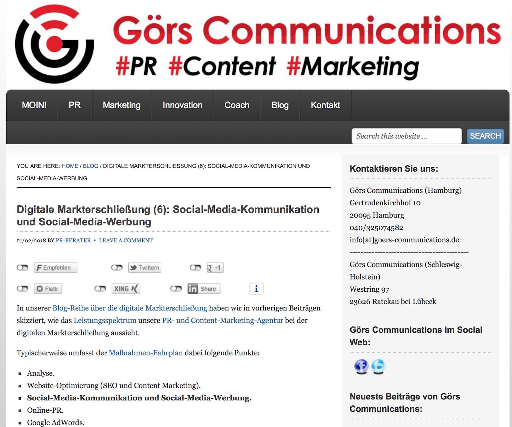Digitale Markterschließung mit Social Media Kommunikation und Social Media Werbung