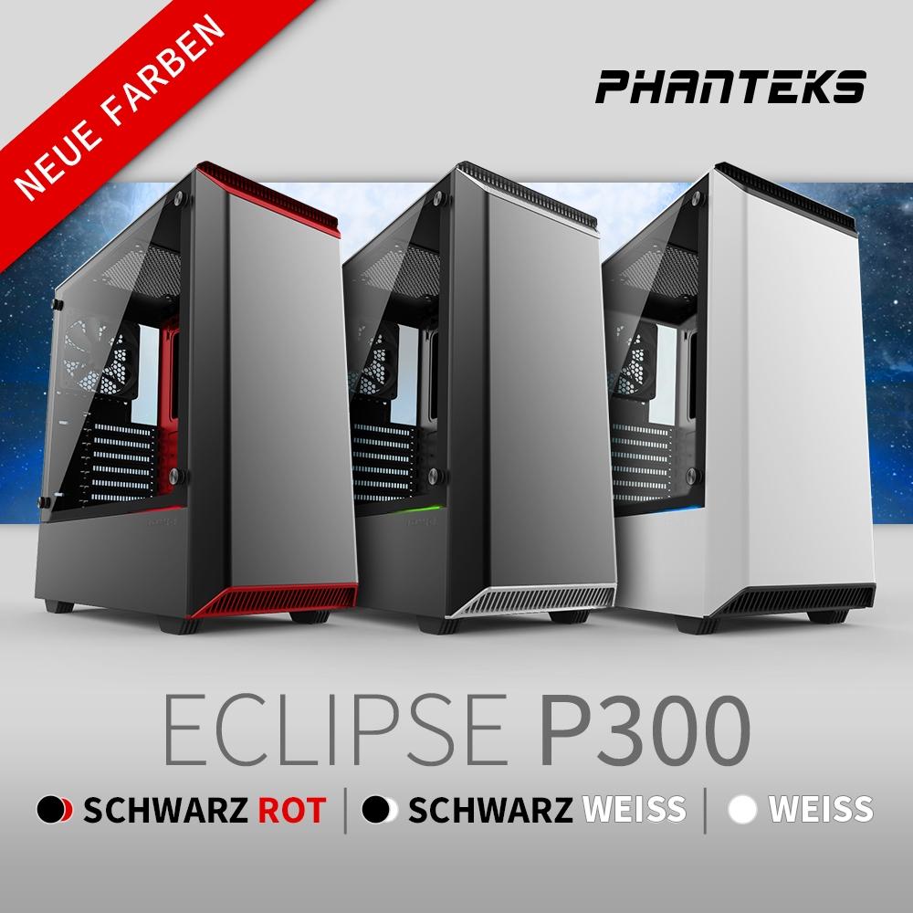 NEU bei Caseking – Der Phanteks Eclipse P300 Midi-Tower erscheint in drei neuen Farbeditionen.