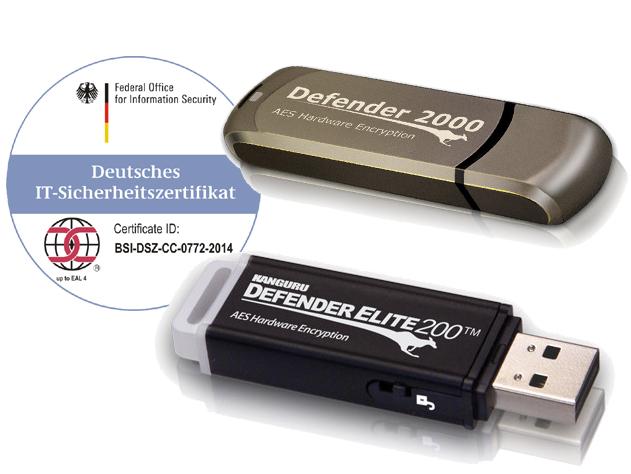 EU-DSGVO Ready: mit BSI zertifizierten hardwareverschlüsselten USB-Sticks Elite200 von Kanguru sensible Daten sicher speichern