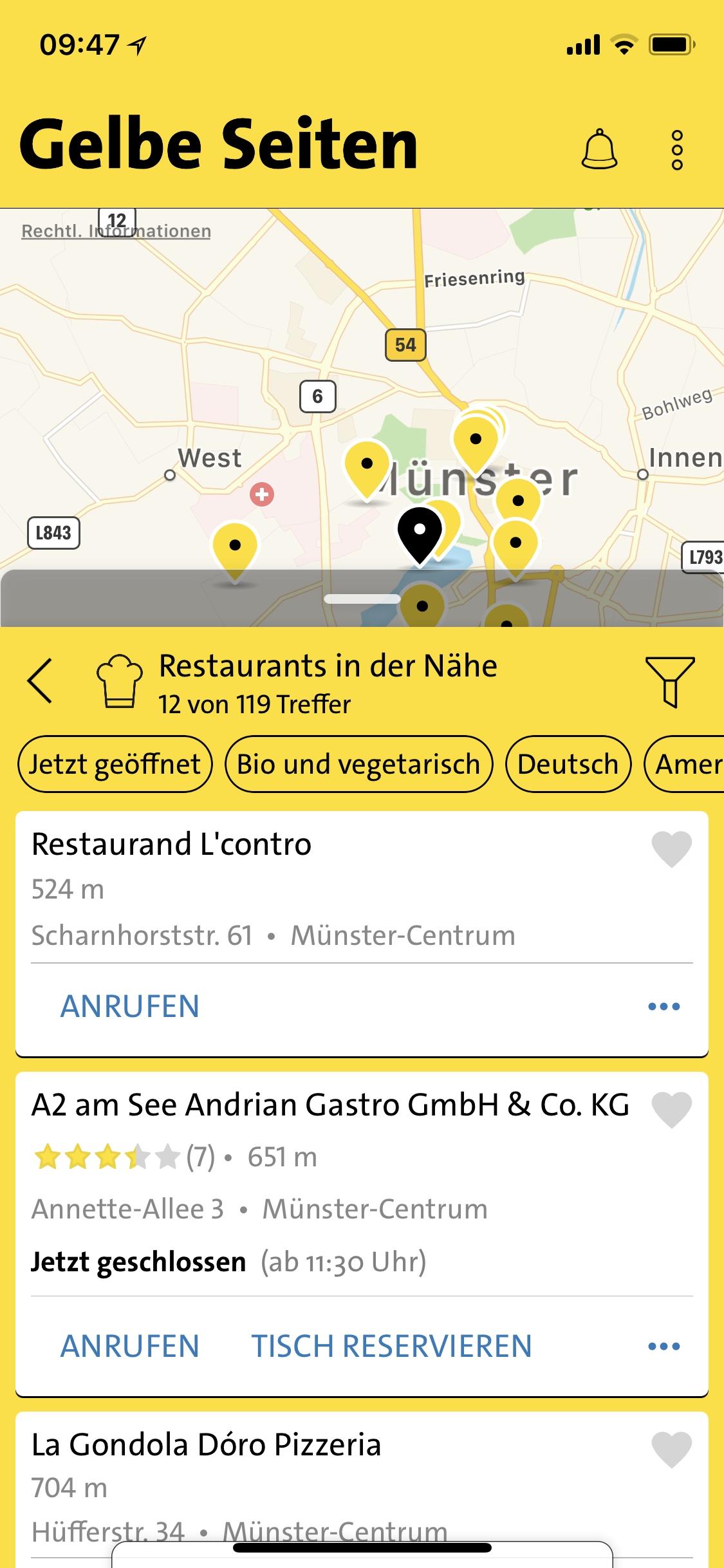 Nie wieder ratlos: Die überarbeitete App von Gelbe Seiten liefert schnell beste Suchergebnisse
