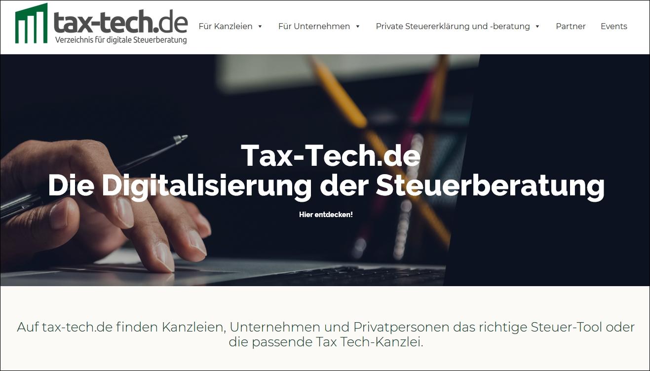 tax-tech.de – Das erste Verzeichnis für digitale Steuererklärung