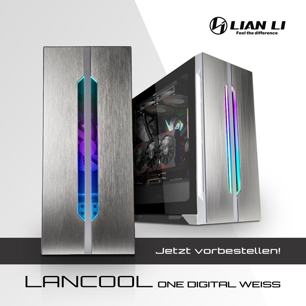 JETZT bei Caseking vorbestellbar – Der elegante Lian Li LANCOOL ONE Digital White Edition Midi-Tower.
