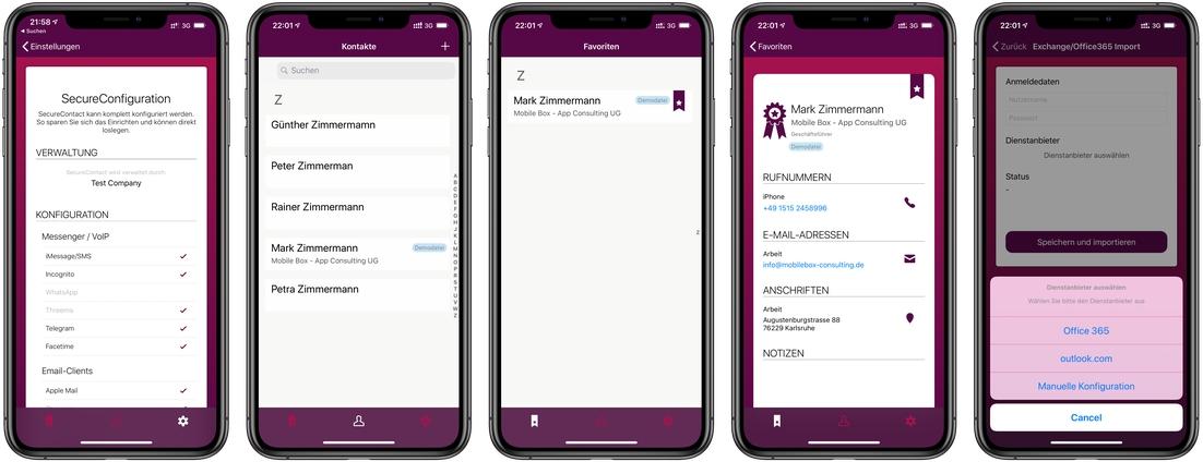Mobiler Zugriff auf Unternehmens-Kontakte.