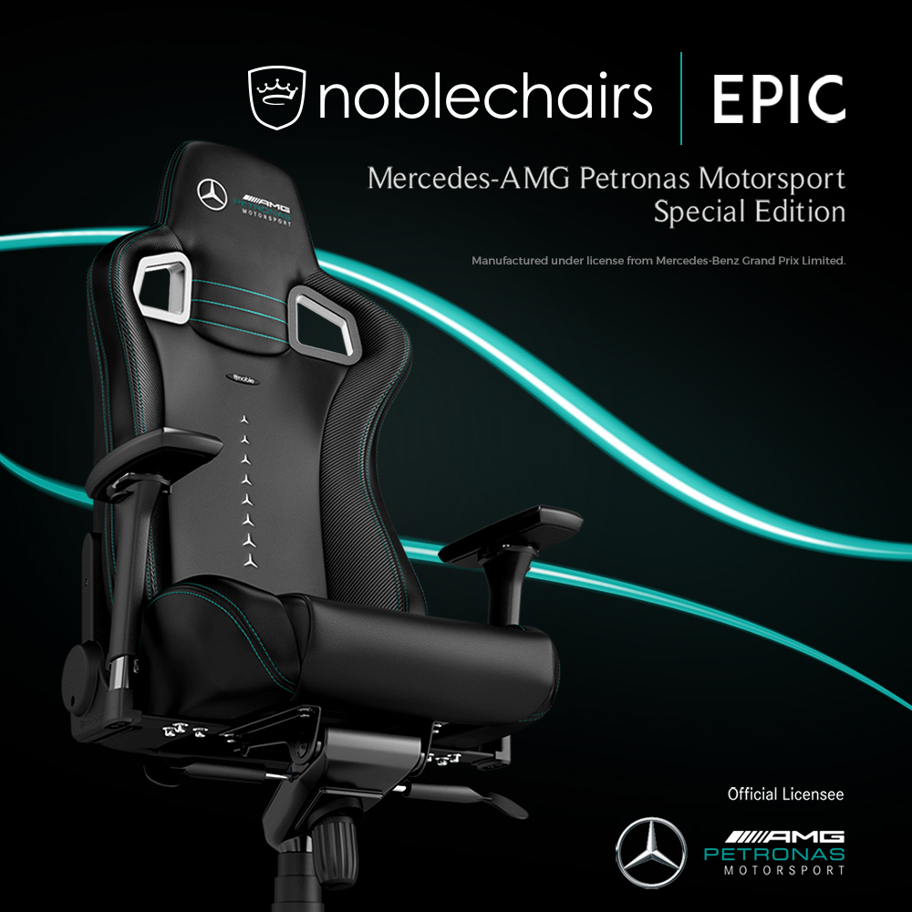 Ab sofort bei Caseking – noblechairs EPIC Mercedes-AMG Petronas Motorsport Edition