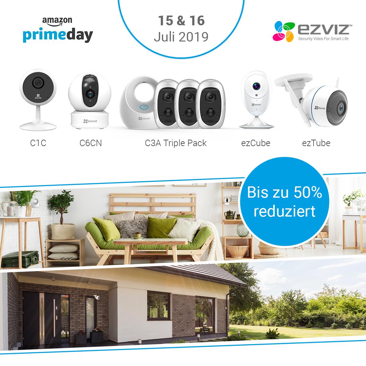 EZVIZ Sicherheitskameras – Zum Amazon Prime Day eine Vielzahl von Kameramodellen bis zu 50 Prozent reduziert