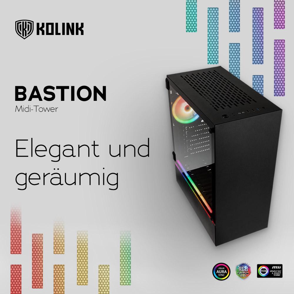 NEU bei Caseking – Kolink Bastion Midi-Tower: Funktionalität elegant präsentiert