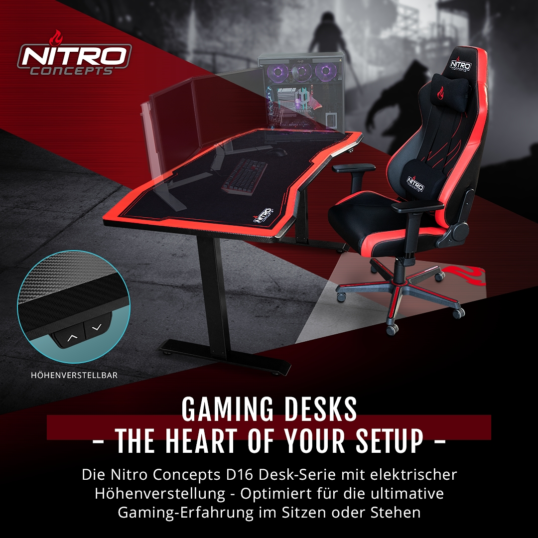 BRANDNEU bei Caseking – The Heart of Your Setup: Nitro Concepts D16 Gaming-Tische
